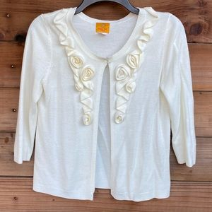 Ruby Rd. ivory open cardigan
